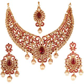 Touchstone Indian Bollywood Desire Charming Studded Diamond Look Fine Filigree Yellow Red Rhinestones Heavy Bridal jewelry Hasli Necklace Set In Antique Gold Tone For Women