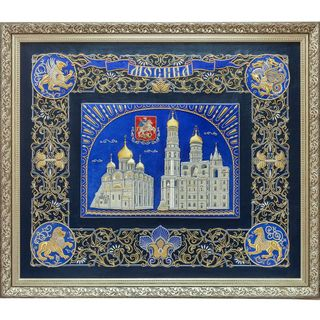 "Painting ""Moscow of white stone"" blue with gold embroidery"
