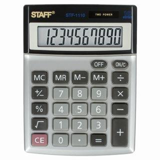 Desktop metal calculator STAFF STF-1110, COMPACT (140x105 mm), 10 digits, dual power supply