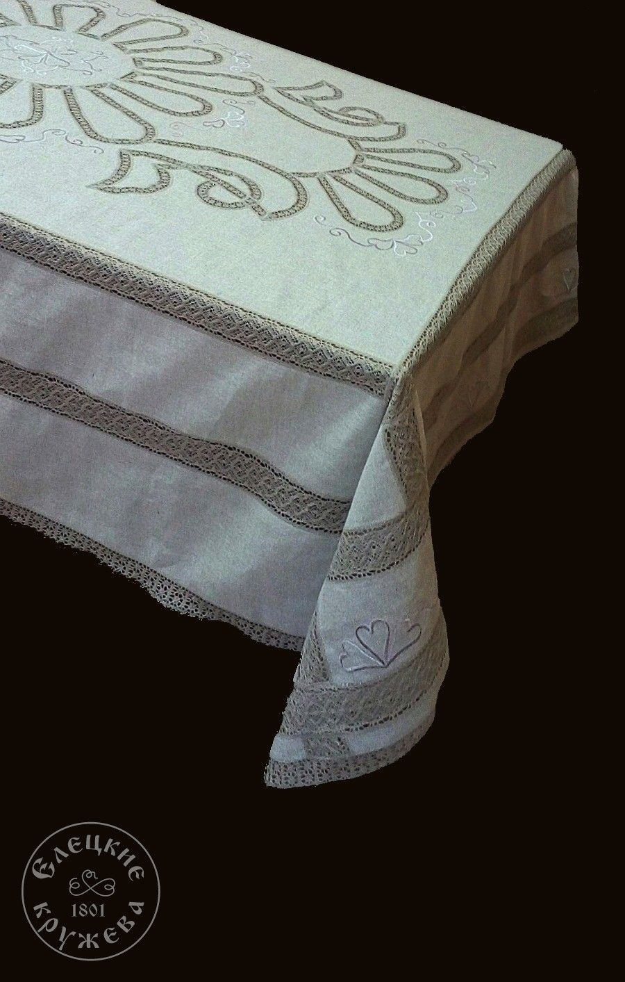 Yelets lace / Linen tablecloth С2159