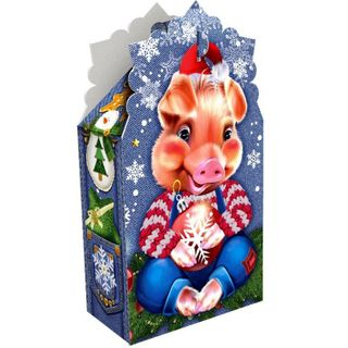 """New Year's gift Piglet """"Cornflower"""", a set of sweets 300g."""