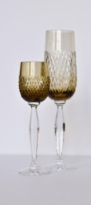 """Set of crystal glasses """"Valencia"""" olive 6 pieces"""