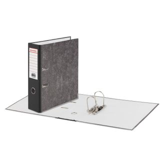 Folder-Registrar BRAUBERG, reinforced spine, marble cover, 80 mm, with corner, black