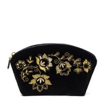 Velvet beautician 'Spring mood' black with golden embroidery