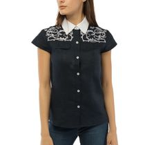 Women's blouse 'flora' blue with silk embroidery