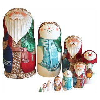 Matryoshka carved Christmas Santa Claus and Snowman