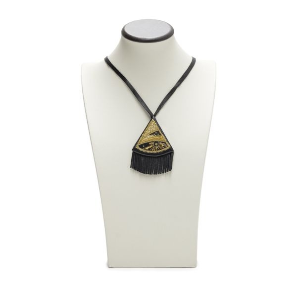 Pendant 'Radiance' of black color with Golden embroidery