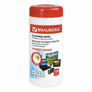 BRAUBERG / Cloths for all types of screens and plastic with YABLOKO aroma, tube 100 pcs., Wet