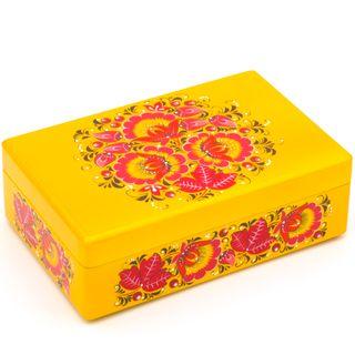 "The box ""Winter Hohloma"" is wooden yellow 200х130"