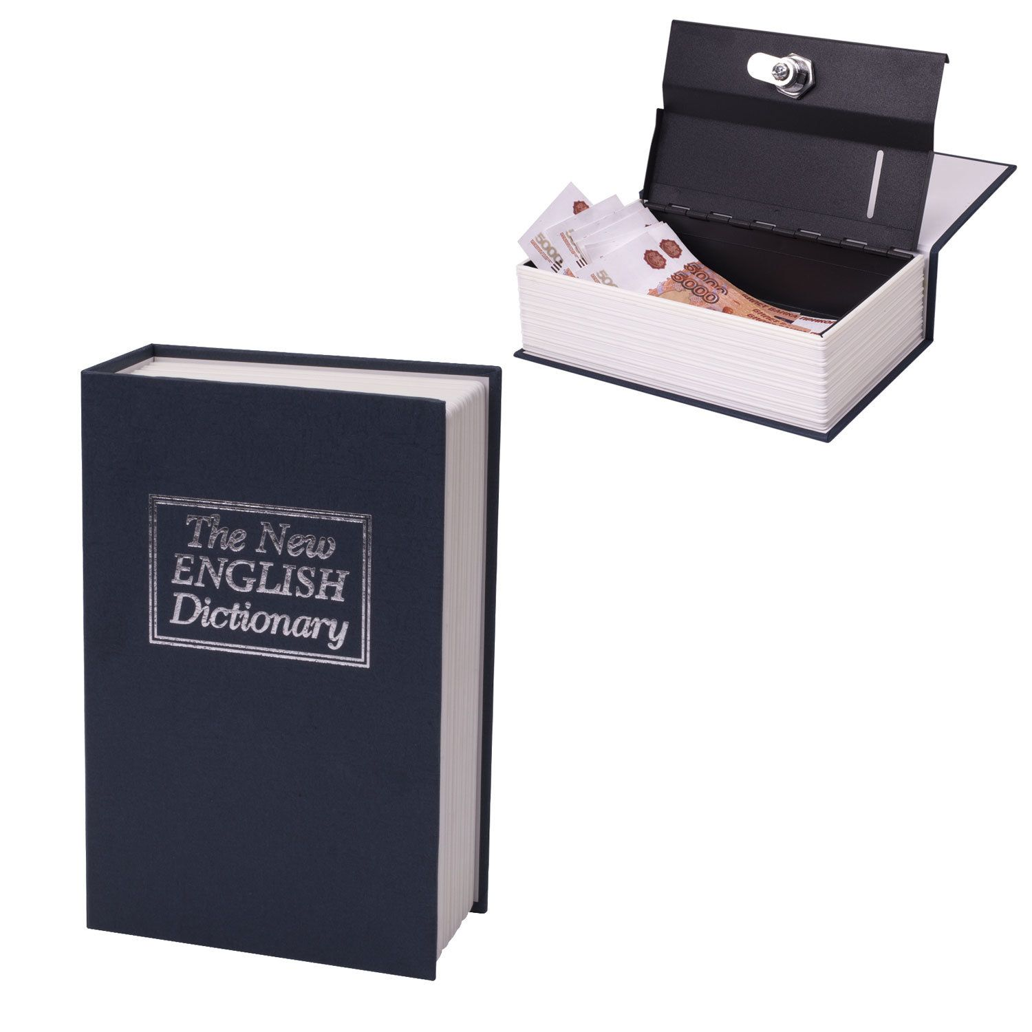 "Safe-book BRAUBERG ""English Dictionary"", 55x155x235 mm, key lock, dark blue"