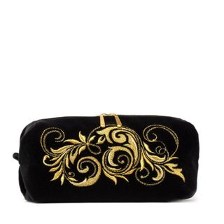 """Velvet cosmetic bag """"falling leaves"""" in black with gold embroidery"""
