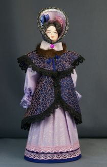 Doll gift porcelain. The lady in the suit with boa. The beginning of the 19th century Petersburg. The European fashion.