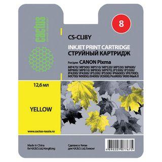 Inkjet cartridge CACTUS (CS-CLI8Y) for CANON Pixma iP4200 / 4300/4500/5200/5300, yellow