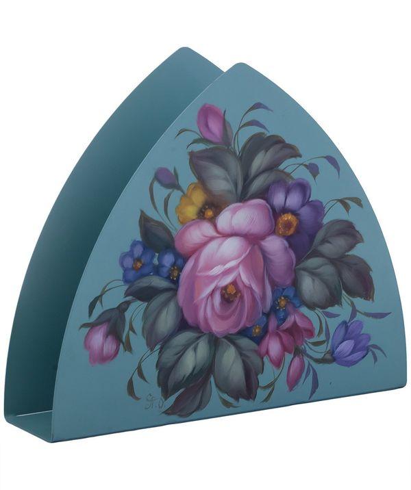 Zhostovo / Triangular napkin holder, author Plishchenko O. 16x13.5x4 cm