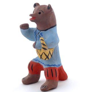 Kargopol clay toy Bear with basket