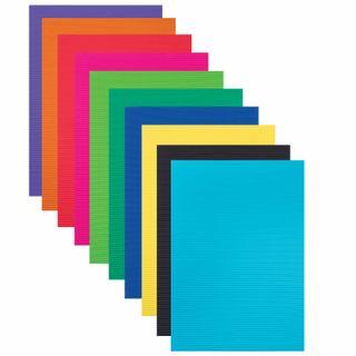 A4 coloured cardboard, CORRUGATED, 10 sheets, 10 colors, 180 g/m2, TREASURE ISLAND