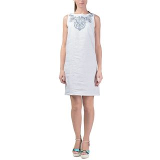 Dress women's city white color with Golden embroidery