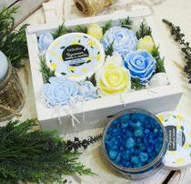 Flowers from soap large gift set with Crimean salt bath Mint-Lemon