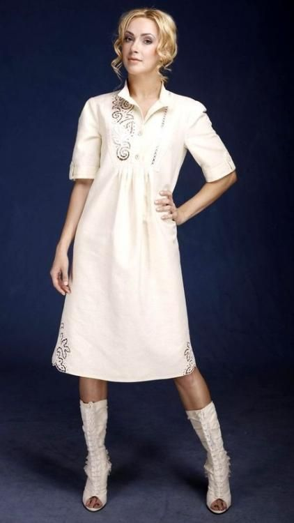 "Women's dress ""A La Russ"" straight silhouette with cutwork"