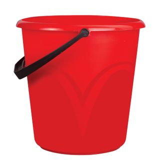 LIME / Bucket 8 l, without lid, plastic, food grade, with a glossy pattern, red color, measuring scale
