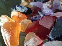 Multicolored glass pebbles
