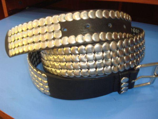 Belt with round metal studs