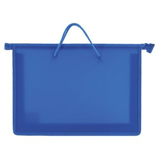 The zip folder with handles PYTHAGORAS, A4, plastic, zipper top, plain blue