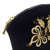 Velvet cosmetic bag 'Happiness' in black with gold embroidery