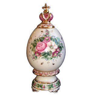 """Easter egg """"gift"""" overglaze painting, Gzhel Porcelain factory"""