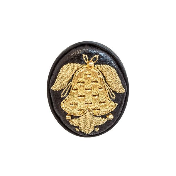 Brooch Bell in black with gold embroidery