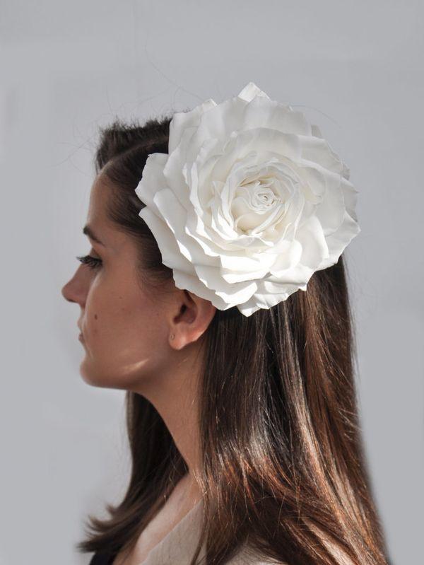 Brooch hairpin Rose white
