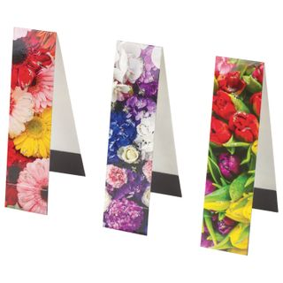 Bookmark with magnet FLOWERS set of 6 PCs, sequins, 25x196 mm, INLANDIA