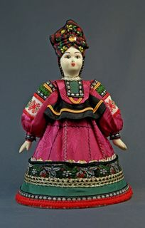 Doll gift porcelain. Ryazan province. Russia. Women's summer festive costume. Late 19th - early 20th century