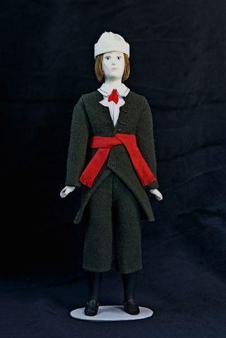 Doll gift. Estonian men's suit is gray. 19th century. Region: Seeremee. Estonia.