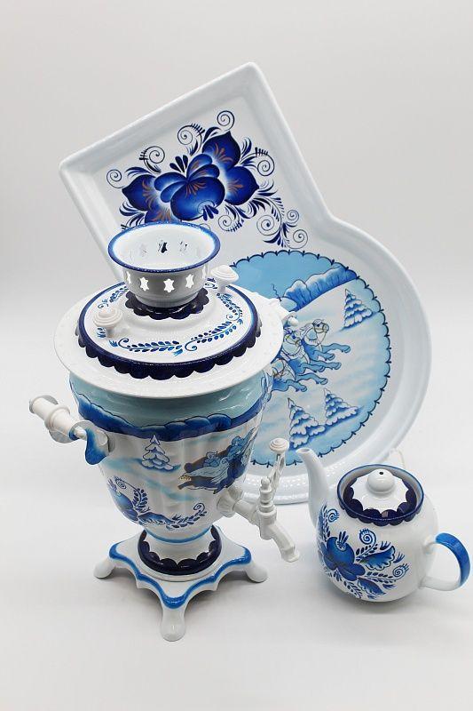 "Dulevo porcelain / Electric samovar 3 l. ""Gzhel (Three) in the set"