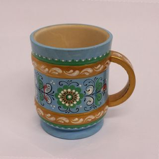 "Wooden mug ""Shenkurskiy blue painting"" height 9 cm"