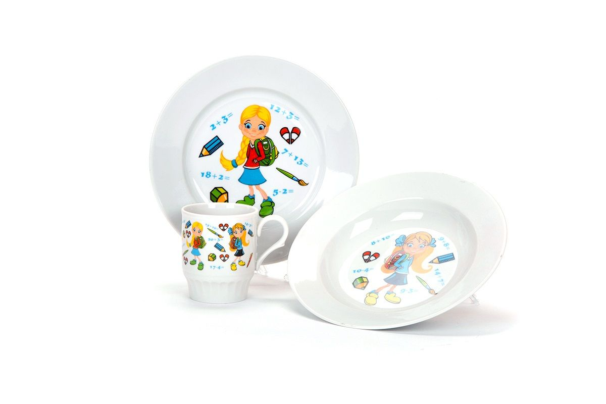 Dulevo porcelain / Cookware set 3 pcs. First grader (v. 200 mm chalk, v. 200 mm depth, 210 ml mug Russian field)