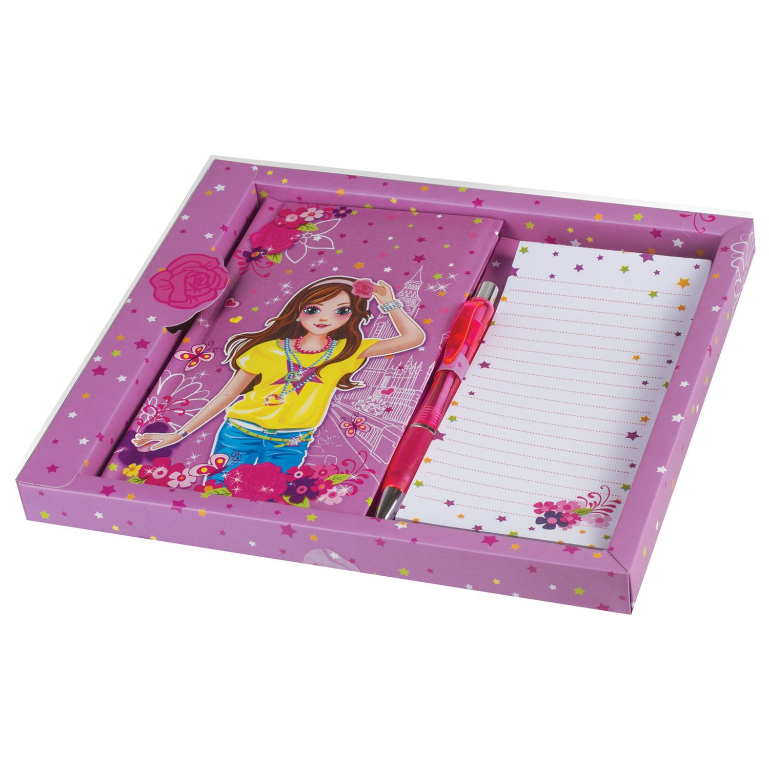 """BRAUBERG / Notebook """"Fashionista"""", 80 sheets A5 (95x170 mm), hardcover, without ruler, pen + block, gift wrapping"""
