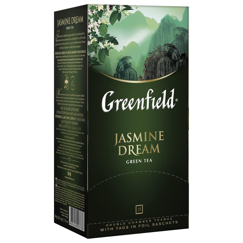 "GREENFIELD / Tea ""Jasmine Dream"" green with jasmine, 25 sachets in envelopes of 2 g"