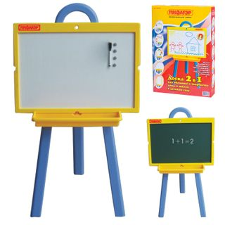The double-sided chalk Board and magnetic marker (45x60 cm), the STAND, green/white, 10 YEARS WARRANTY, PYTHAGORAS
