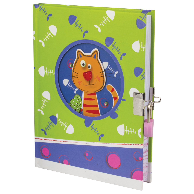 "BRAUBERG / Notebook ""Kitty"", 96 sheets A5 (133x178 mm), hardcover, metal lock, 3D drawing, rhinestones, line"
