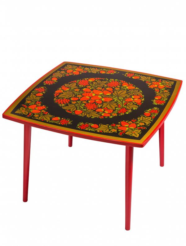 Table of wood 'Autumn' with Khokhloma painting, height 460 mm