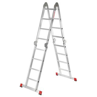 NEW HEIGHT / Aluminum transforming ladder 4x4 steps, height 4.5 m (4 sections 1.2 m each) up to 150 kg, weight 16.5 kg