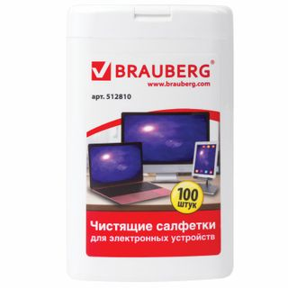 BRAUBERG / Wipes for electronic devices universal compact tube 100 pcs., Wet