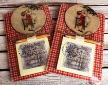 Souvenir fridge magnet with a notebook Children at the Christmas tree, background mix