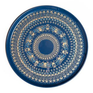 Zhostovo forged tray Ornamental blue