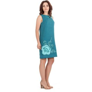 "Women's dress ""Watercolor"" blue with silk embroidery"