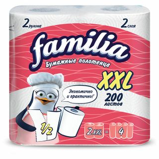 FAMILIA / Household paper towels XXL white 2-ply (2x25 m), 23x13 cm, soldered 2 pcs.