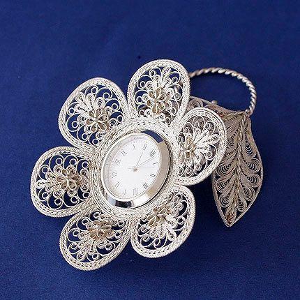 """Kazakovskaya Filigree / Souvenir """"Forget-me-not with a watch"""" silvering"""
