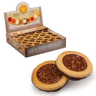 BISCOTTI / Glazed butter cookies with nuts, cardboard show box 1.8 kg (Russia)